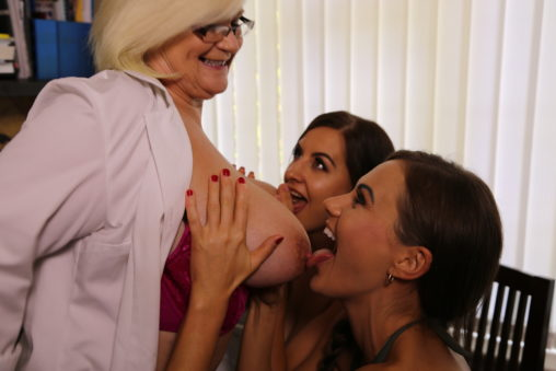 Tindra Frost and Tina Kay lick Lacey Starr titties